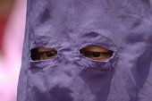 """""""Close up shot of the eyes of an anonymous participant in a Good Friday Easter procession - Quito, Ecuador."""""""