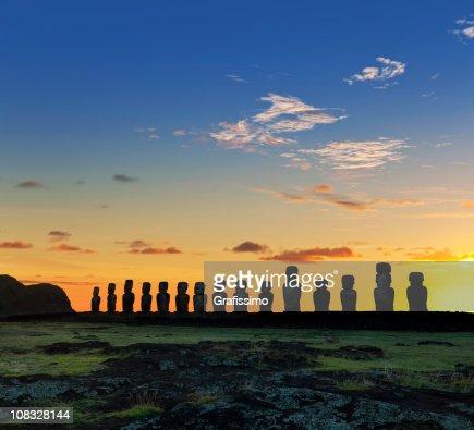 Easter Island Chile dawn over moais at Ahu Tongariki