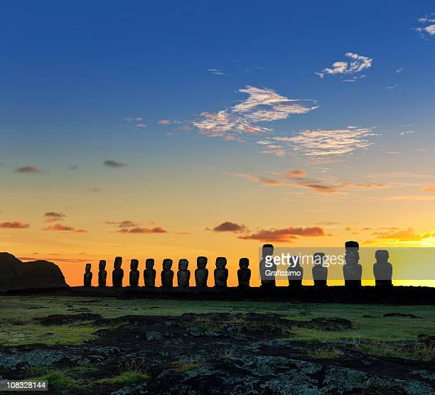 Easter Island Chile dawn over moais at Ahu Tongariki