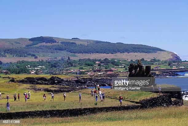 Easter Island Hanga Roa Ahu Tahai Tourists