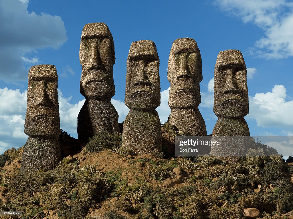 Easter Island Heads forward frown : Stock Photo