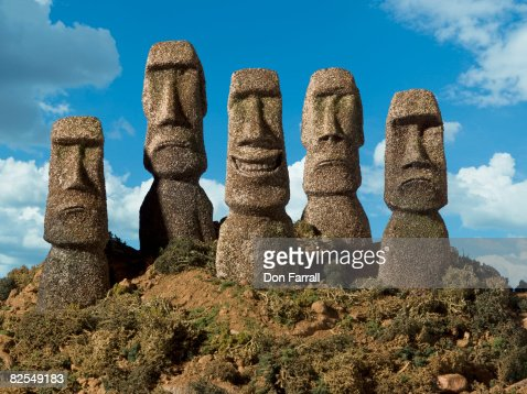 Easter Island Heads Front five smile