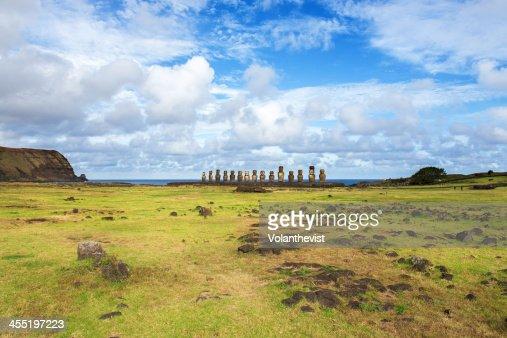 Easter Island Landscape. Ahu Tongariki moai