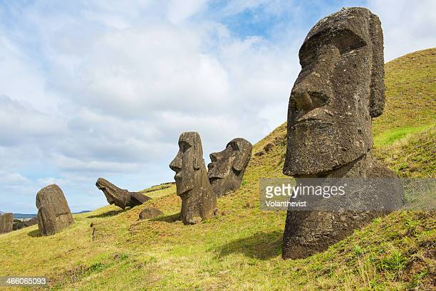 Easter island landscape. Several moai in sunny day