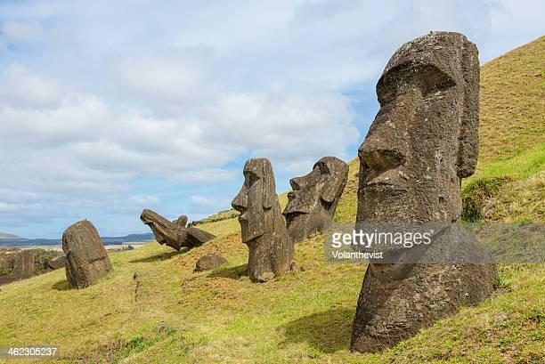 Easter island landscape with moais in Rano Raraku