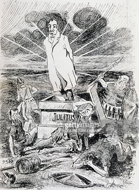 Easter of Resurrection satirical cartoon dedicated to Giovanni Giolitti from L'uomo di pietra magazine 26 March 1910 Italy 20th century Milan...