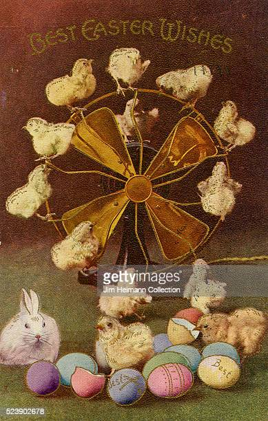 Easter postcard featuring baby chickens rabbit and colored eggs Chicks are perched on electric fan in background