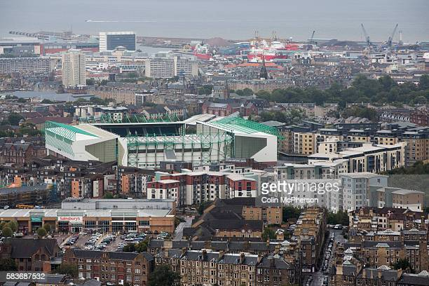 Easter Road stadium pictured from Arthur's Seat before the Scottish Championship match between Hibernian and visitors Alloa Athletic The home team...