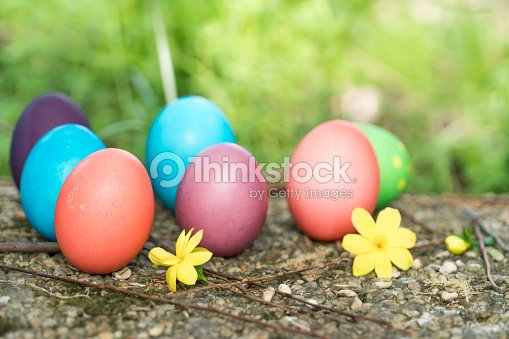 Easter sunday, happy easter, colorful easter eggs hunt holiday decorations easter concept backgrounds with copy space