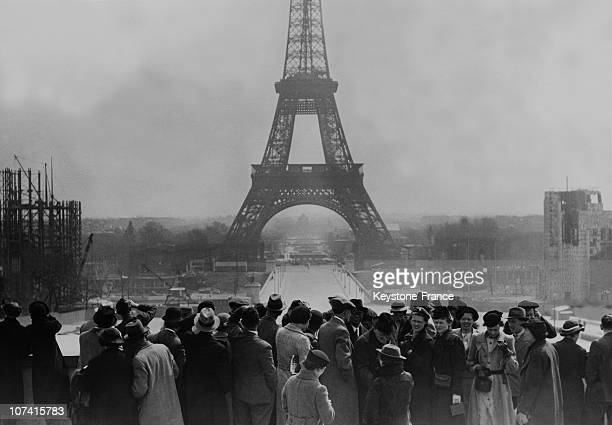 Easter Tourists At Eiffel Tower In Paris On April 16Th 1936
