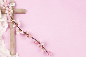 easter cross with flowers of cherry blossom