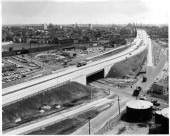 Easterly view showing Connecticut Turnpike approaching the PT Barnum Bridge over Bridgeport Harbor Bridgeport Connecticut circa 1960