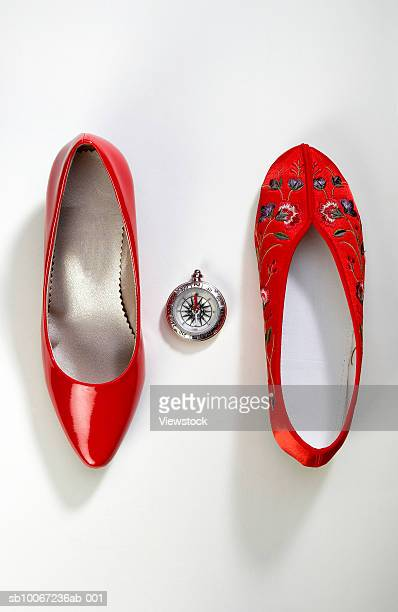 Eastern and western woman's shoes with compass