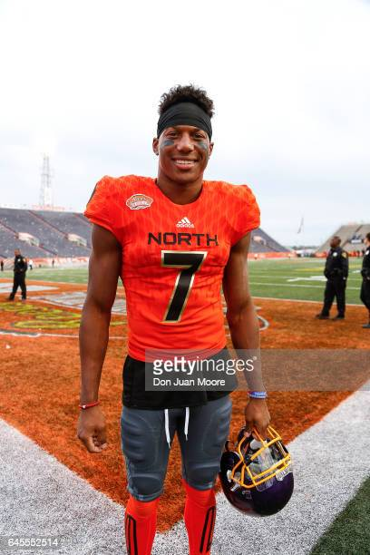 Eastern Carolina Wide Receiver Zay Jones of the North Team poses after the 2017 Resse's Senior Bowl at LaddPeebles Stadium on January 28 2017 in...