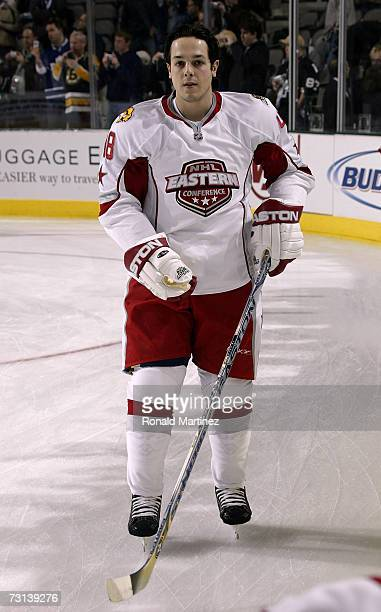 Eastern Conference AllStar Daniel Briere of the Buffalo Sabres warms up prior to the 2007 NHL AllStar Game at American Airlines Center on January 24...