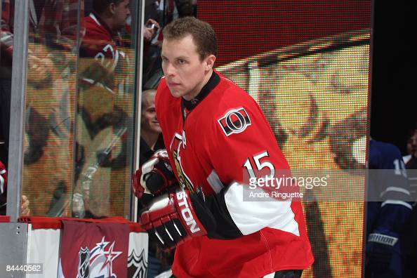 Eastern COnference AllStar Dany Heatley of the Ottawa Senators takes the ice during player introductions for the Honda NHL Superskills competition as...