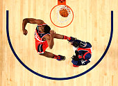 Eastern Conference AllStar John Wall of the Washington Wizards competes in the Sprite Slam Dunk Contest 2014 as part of the 2014 NBA AllStar Weekend...