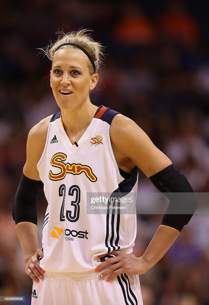 Eastern Conference All-Star <a gi-track='captionPersonalityLinkClicked' href=/galleries/search?phrase=Katie+Douglas&family=editorial&specificpeople=213099 ng-click='$event.stopPropagation()'>Katie Douglas</a> #23 of the Connecticut Sun reacts during the WNBA All-Star Game at US Airways Center on July 19, 2014 in Phoenix, Arizona.