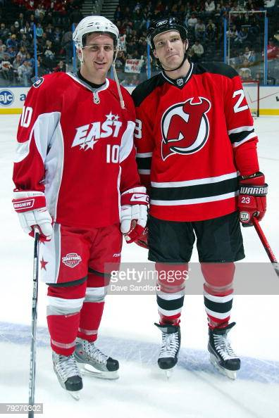 Eastern Conference AllStar Mike Richards of the Philadelphia Flyers and Youngstar David Clarkson of the New Jersey Devils pose on the ice as part of...