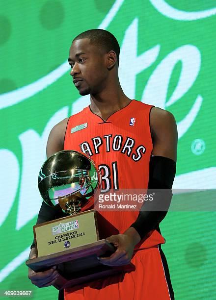 Eastern Conference AllStar Terrence Ross of the Toronto Raptors holds his trophy after the Sprite Slam Dunk Contest 2014 as part of the 2014 NBA...