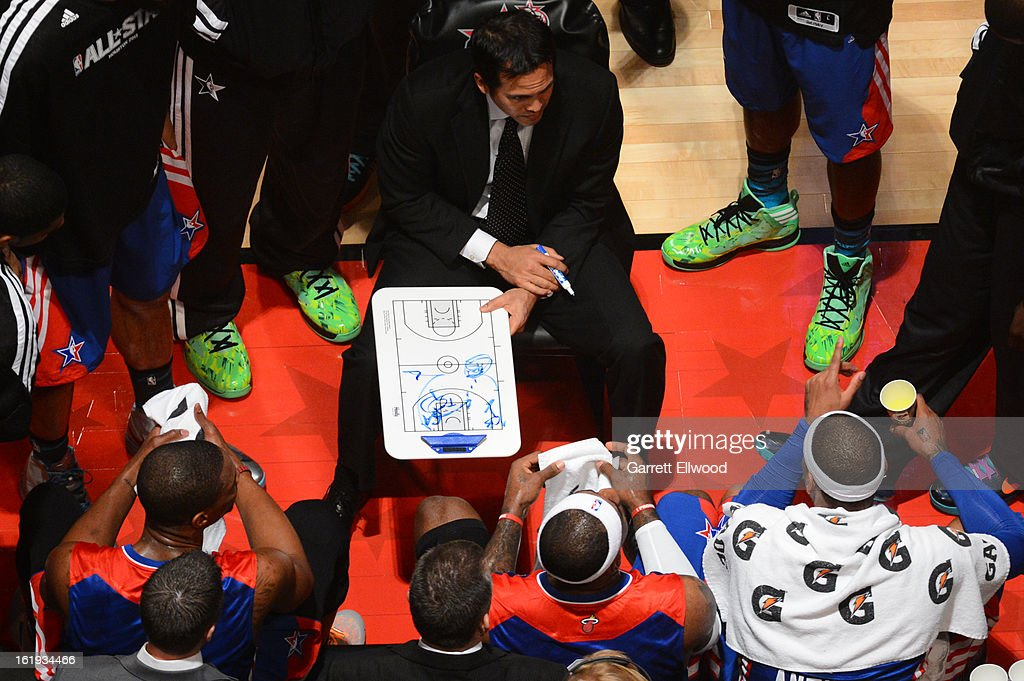 Eastern Conference All-Stars head coach Erik Spoelstra talks to his team in the huddle during the 2013 NBA All-Star Game during All Star Weekend on February 17, 2013 at the Toyota Center in Houston, Texas.