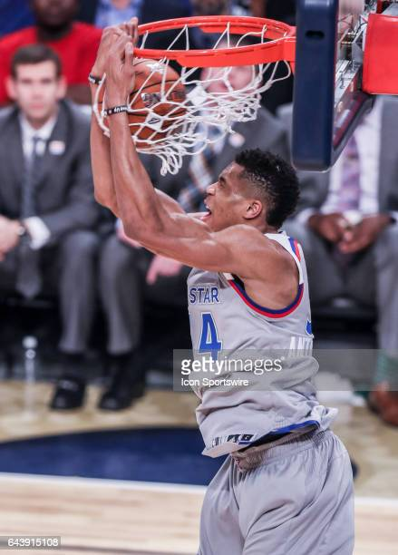 Eastern Conference forward Giannis Antetokounmpo dunks the ball against the Western Conference during the NBA AllStar Game between the Eastern...