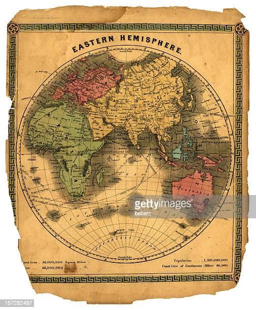 Hemisferio oriental globo mapa