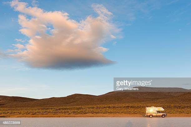 USA, Eastern Oregon, Alvord Playa, Camper van on road