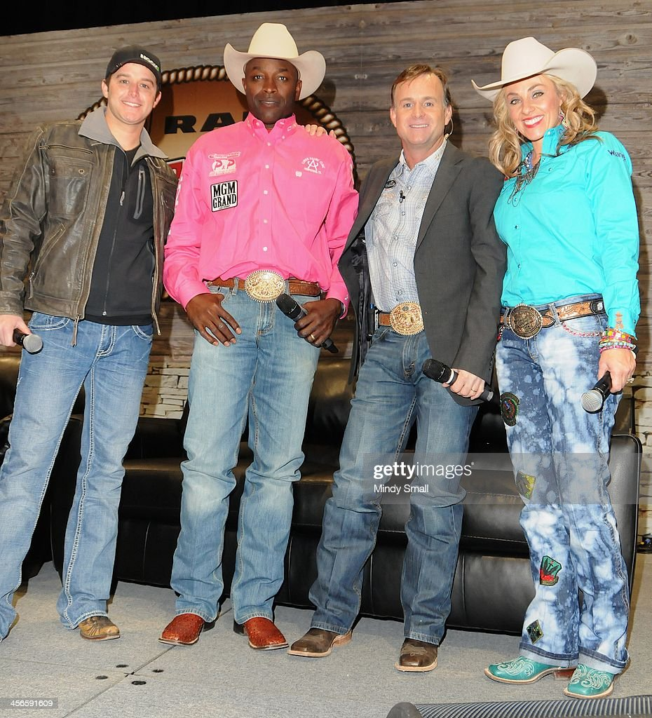 <a gi-track='captionPersonalityLinkClicked' href=/galleries/search?phrase=Easton+Corbin&family=editorial&specificpeople=6756492 ng-click='$event.stopPropagation()'>Easton Corbin</a>, Fred Whitfield, Flint Rasmussen and Shada Brazile appear at Cowboy FanFest during the Wrangler National Finals Rodeo at the on December 14, 2013 in Las Vegas, Nevada.