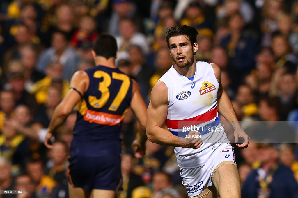 Easton Wood of the Bulldogs celebrates a goal during the round eight AFL match between the West Coast Eagles and the Western Bulldogs at Domain Stadium on May 12, 2017 in Perth, Australia.
