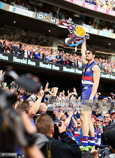 Easton Wood of the Bulldogs celebrates with the Premiership Cup after the 2016 Toyota AFL Grand Final match between the Sydney Swans and the Western...