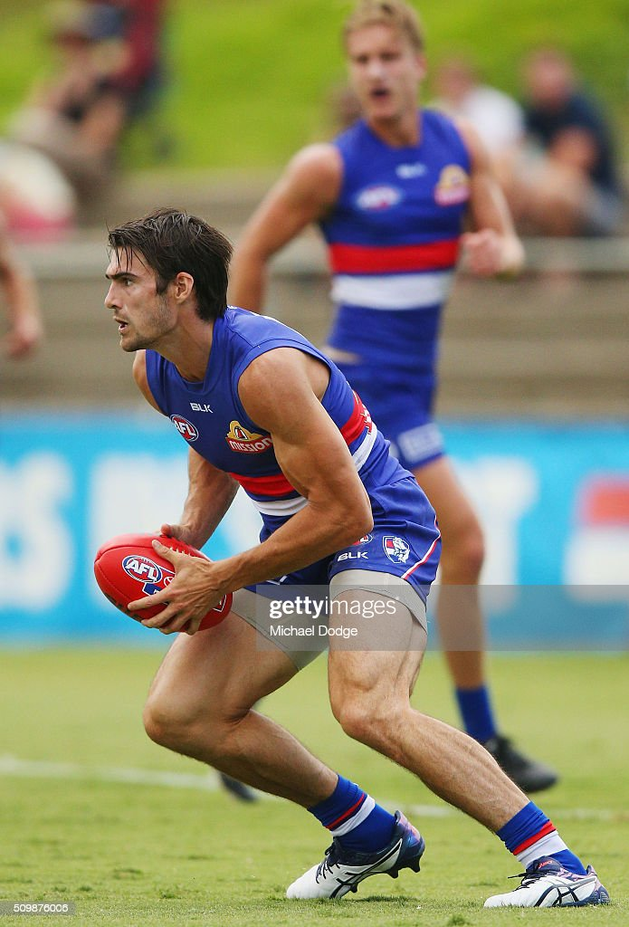 Easton Wood of the Bulldogs looks upfield during the Western Bulldogs AFL intra-club match at Whitten Oval on February 13, 2016 in Melbourne, Australia.