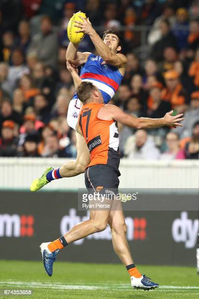 Easton Wood of the Bulldogs marks over Steve Johnson of the Giants during the round six AFL match between the Greater Western Sydney Giants and the...