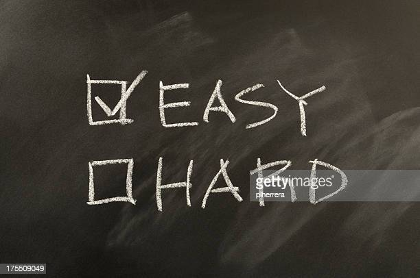 Easy and Hard Checkbox Written on Blackboard