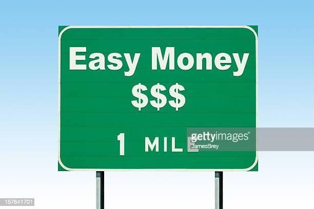 Dinero fácil de 1,6 kilómetros/1 milla de la autopista señal