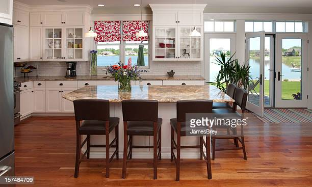 Eat-In Kitchen Interior Design with Lake View, Hardwood Floor