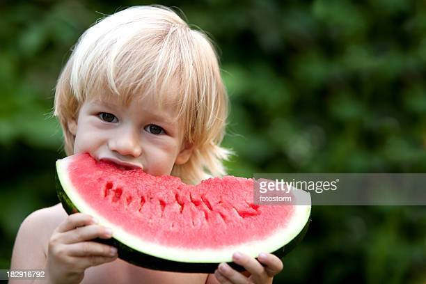 Eating a sweet watermelon