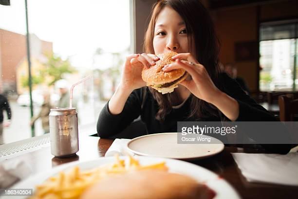 Eating burger