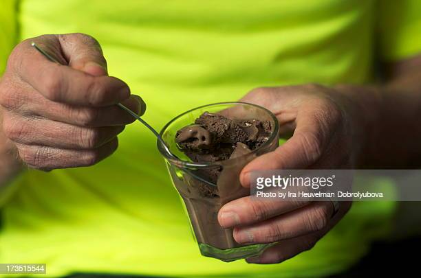 Eating chocolate ice cream