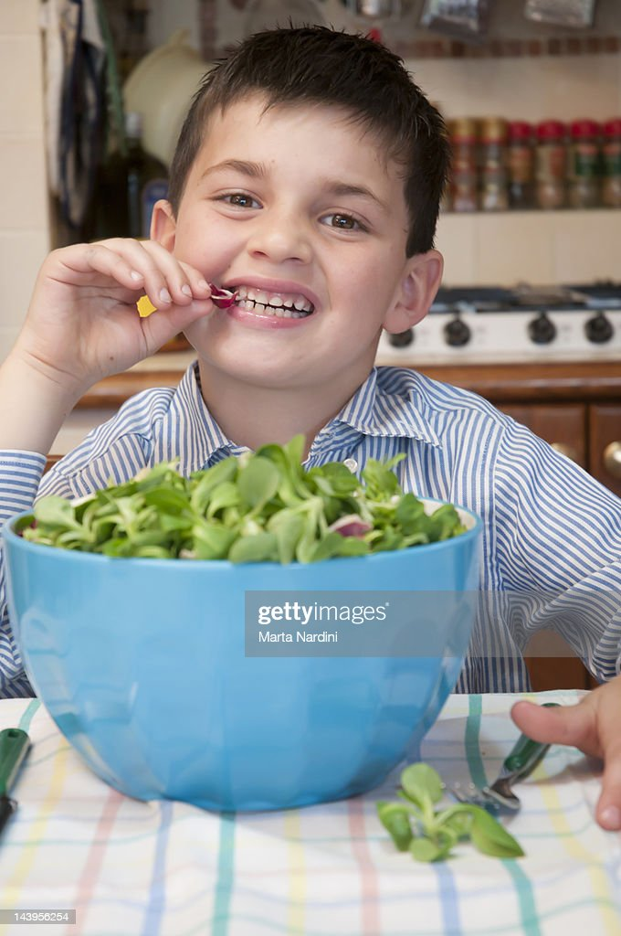 Eating greens : Stock Photo