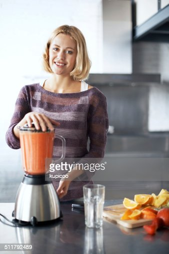 Eating healthy makes her happy