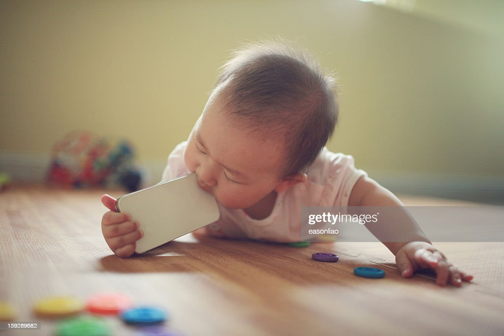 eating phone : Stock Photo