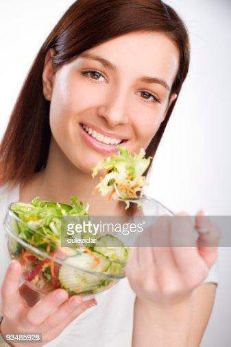 Eating salad : Stock Photo
