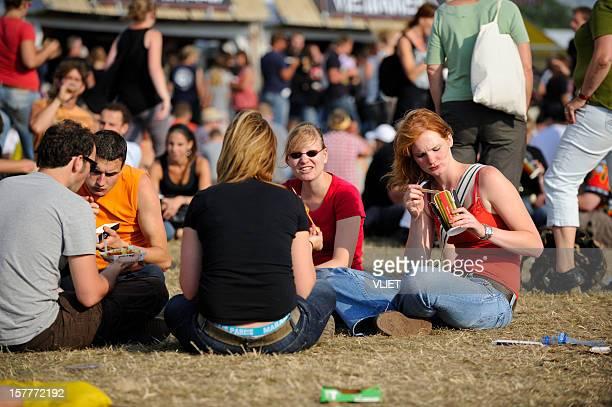 Eating visitors of Zwarte Cross music festival in the Netherlands