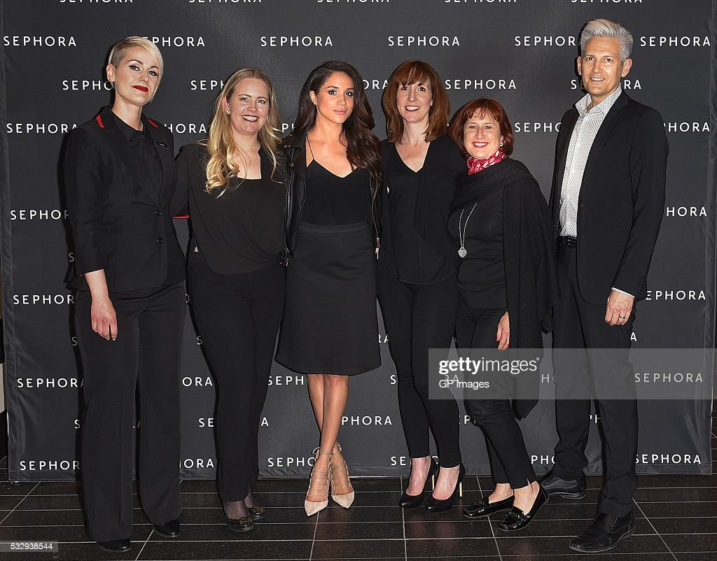 Eaton Centre Store Director Reagan Williams, GTA District Manager Sephora Tania Brosseau, Meghan Markle, VP of Marketing Sephora Canada Deborah Neff, VP Retail Sephora Canada Christine Delebarre, General Manager Toronto Eaton Centre Sephora Terry Rowe attend Sephora Unveils Toronto Eaton Centre Remodel at Toronto Eaton Centre on May 19, 2016 in Toronto, Canada.