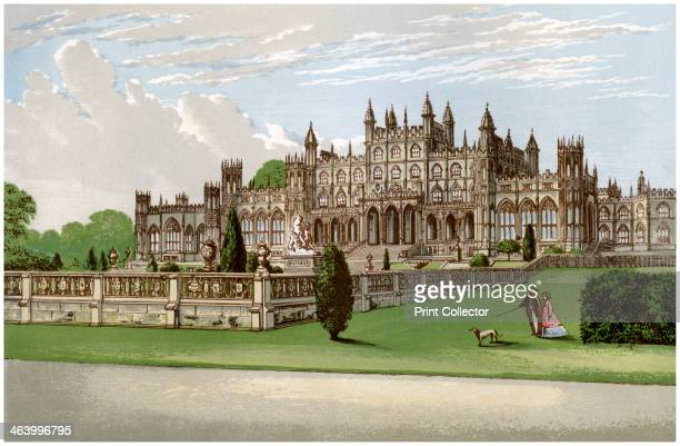 Eaton Hall Cheshire home of the Duke of Westminster c1880 A print from A Series of Picturesque Views of Seats of the Noblemen and Gentlemen of Great...