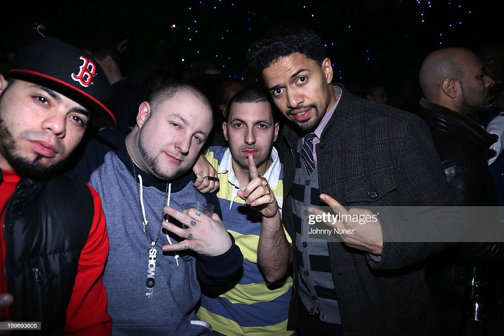 Ea$y Money, Statik Selektah, guest, and D-Stroy attend Barry Mullineaux's Birthday Party at Greenhouse on January 17, 2013 in New York City.
