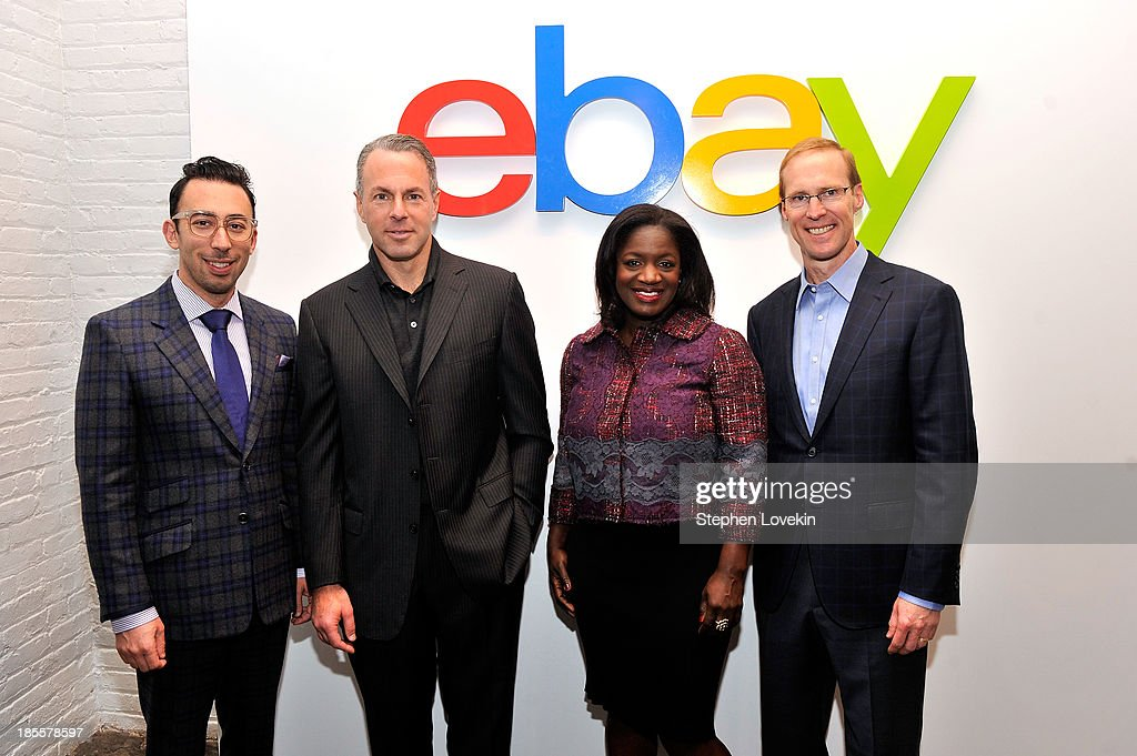 eBay chief curator Michael Phillips Moskowitz, eBay president Devin Wenig, eBay's chief marketing officer Richelle Parham and eBay chief technology officer Mark Carges attend eBays launch of new features during its Future of Shopping event at Industria Studios on October 22, 2013 in New York City.