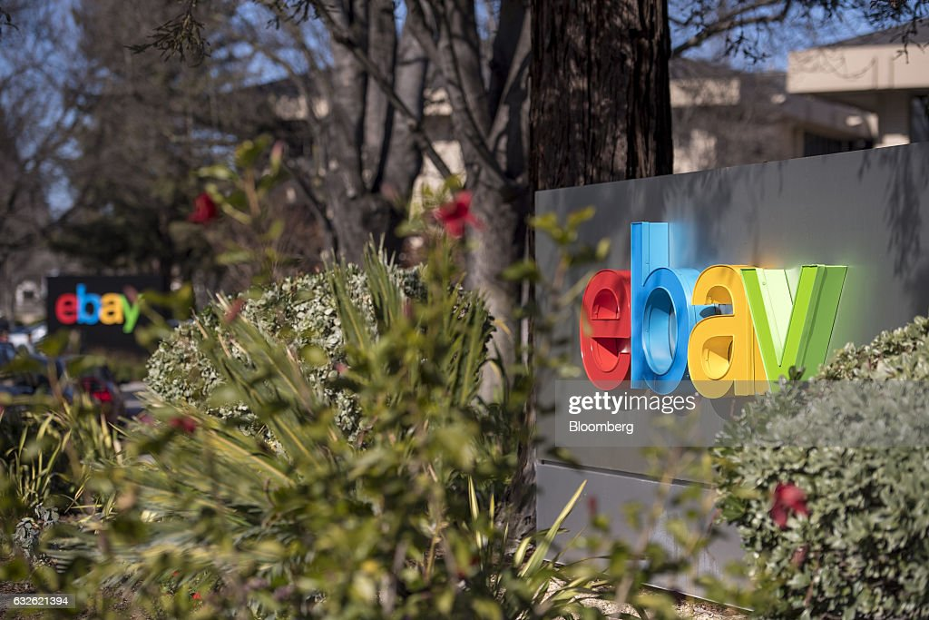 EBay Inc. signage is displayed at the entrance to the company's headquarters in San Jose, California, U.S., on Tuesday, Jan. 24, 2017. Ebay is expected to release earnings figures on January 25. Photographer: David Paul Morris/Bloomberg via Getty Images