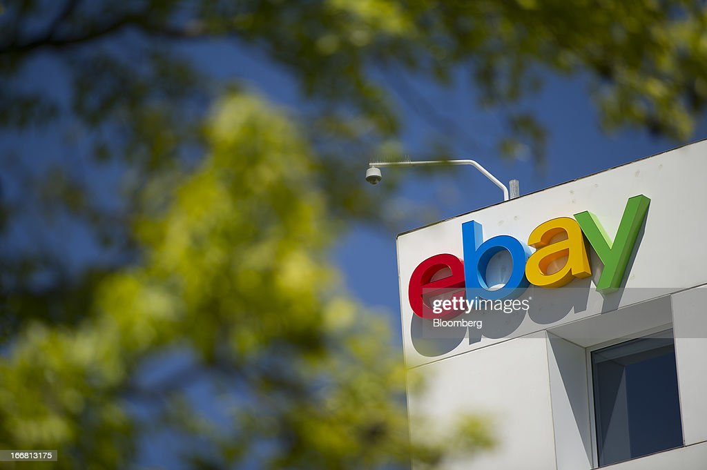EBay Inc. signage is displayed on the facade of the company's headquarters in San Jose, California, U.S., on Tuesday, April 16, 2013. Ebay Inc. is expected to release earnings data on April 17. Photographer: David Paul Morris/Bloomberg via Getty Images